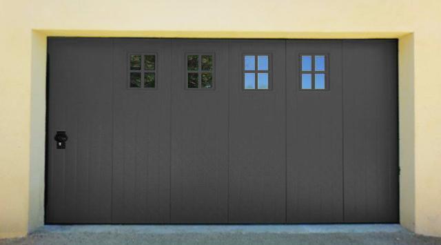 Porte de garage sectionnelle lat rale nao fermetures Porte de garage a la francaise sur mesure