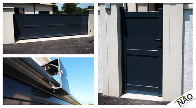 Portail coulissant avec portillon aluminium for Portail portillon aluminium