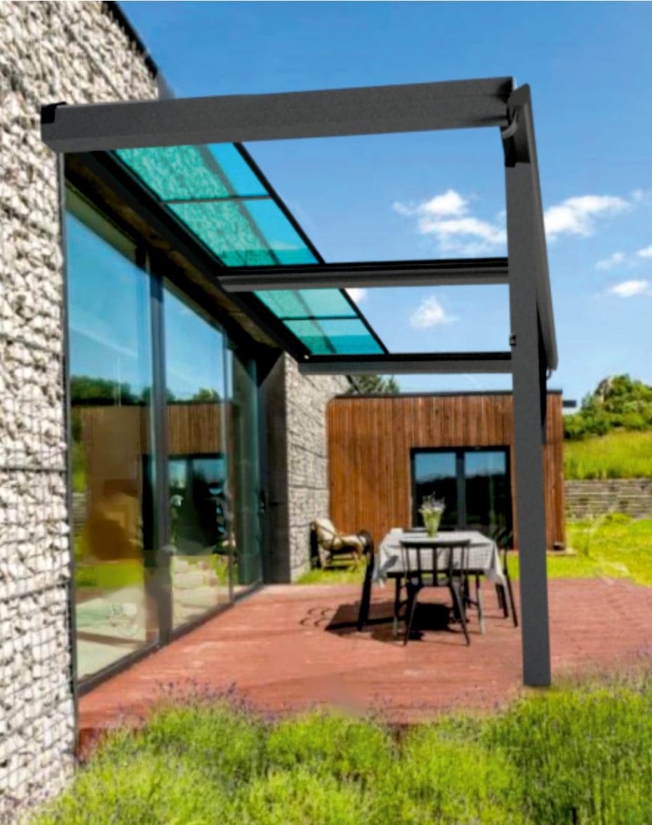 Pergola aluminium toit coulissant en plexiglas