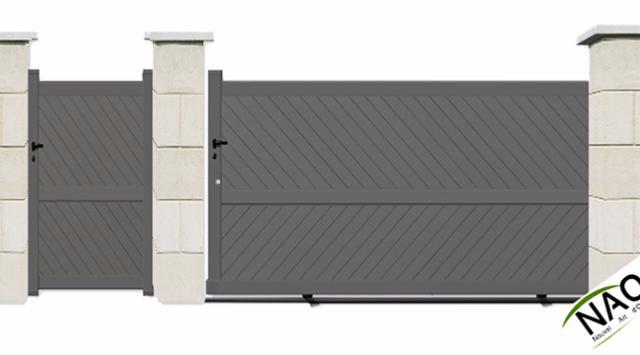 portail coulissant avec portillon aluminium. Black Bedroom Furniture Sets. Home Design Ideas