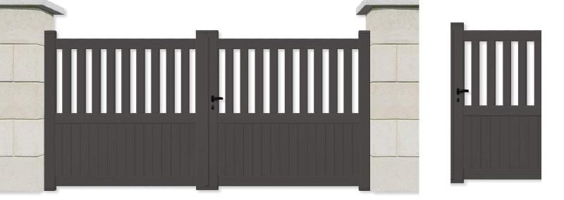 Portail avec portillon droit en aluminium for Pack portail portillon